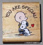 Snoopy hugging Charlie Brown 'You are special' Rubber Stamp