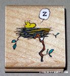 Woodstock in nest Rubber Stamp
