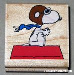 Flying Ace on doghouse Rubber Stamp