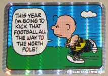 Charlie Brown football panel cartoon Prismatic Photo/Trading Card