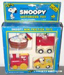 Snoopy Mini Friction Toys Set - Flying Ace Doghouse, Bath Tub, Train Engine, Taxi Cab
