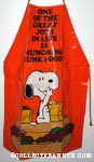 Snoopy sitting on hamburger eating 'One of the great joys in life is munching junk food' Apron