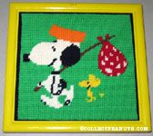 Snoopy & Woodstock with Hobo Packs Stitchery Picture