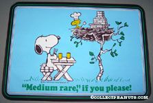 Snoopy at picnic table and Woodstock grilling in nest 'Medium Rare if you please' Placemat
