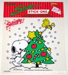 Snoopy & Woodstock decorating Christmas Tree Static Stick-on