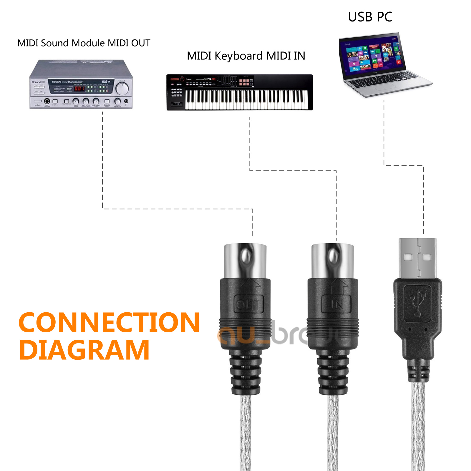 hight resolution of new usb t0 midi keyboard adapter cable for windows 7 8 10 xp vista mac