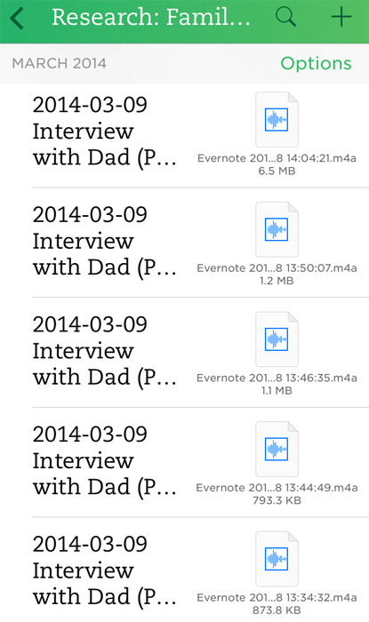 Evernote Audio Interviews - Notebook List View - iOS