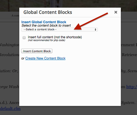 Global Content Blocks - Dropdown Selection Menu