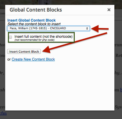 Global Content Blocks - Insert Content Block