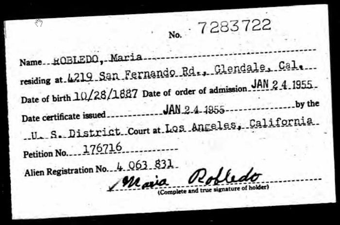 Maria Nieto - Ancestry - 1955 Naturalization Index Card