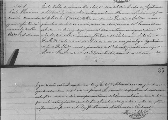 1914 Civil Death Record for Celedonia Robledo Nieto