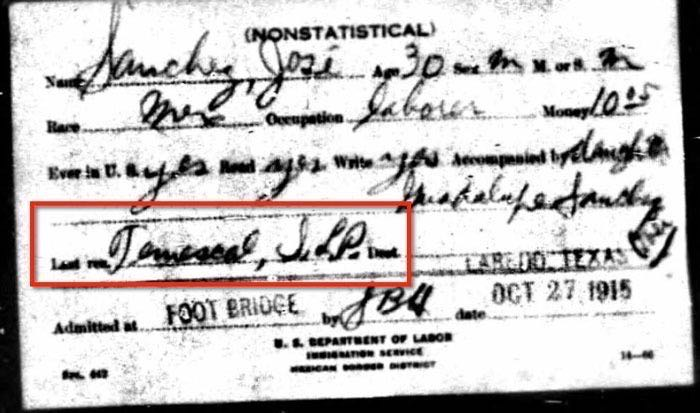 1915 Border Record for Jose Robledo
