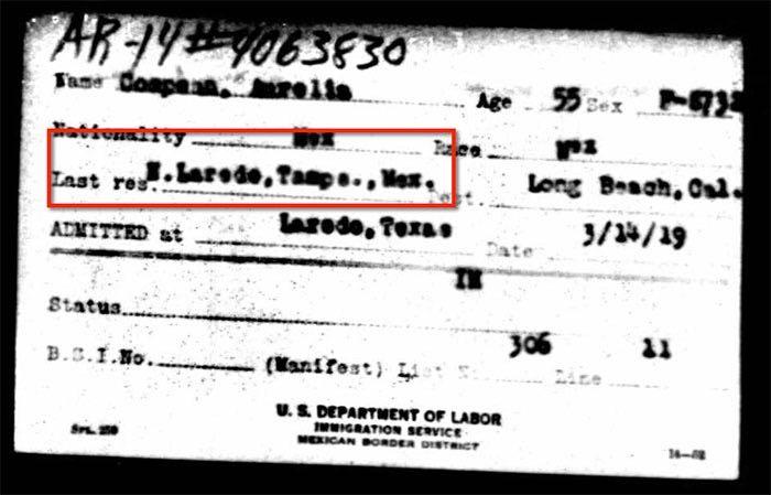1919 Border Record for Aurelia Compean