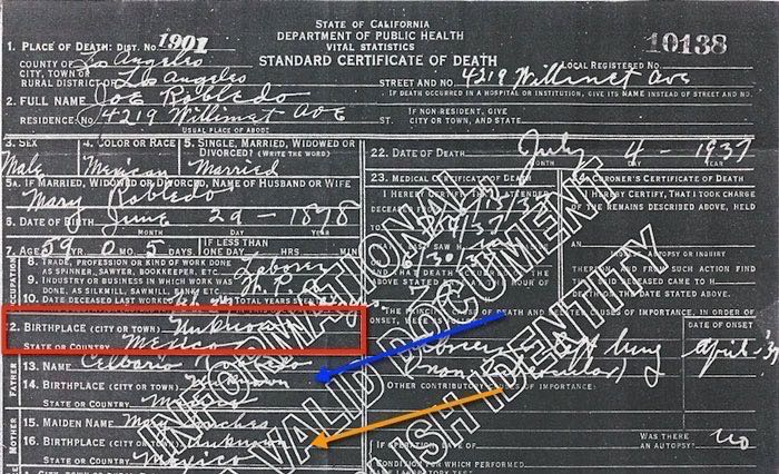 1937 Death Certificate for Jose Robledo