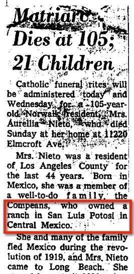 1963 Obituary for Aurelia Compean