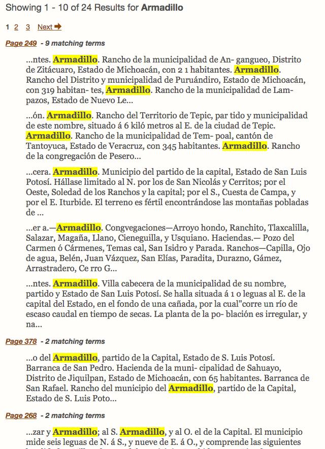 Garcia Cubas Gazetteer - HathiTrust - Text Search Results