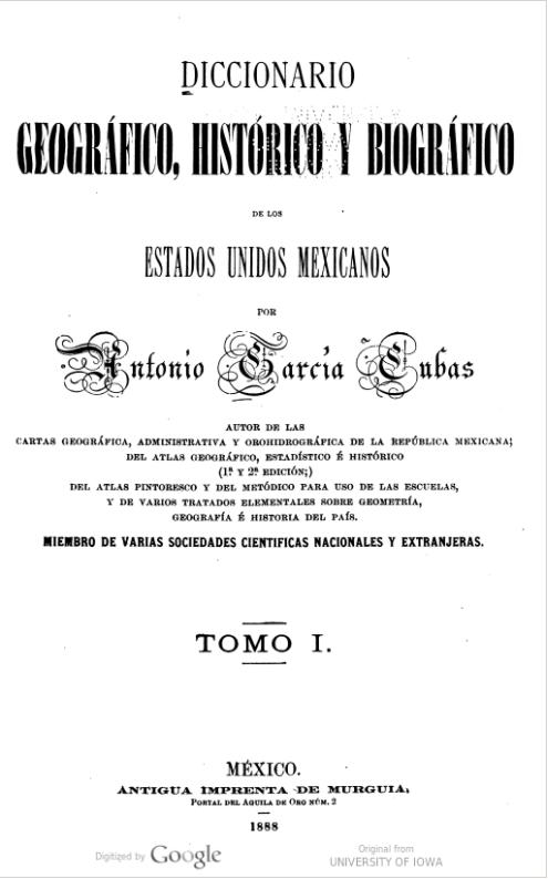 Garcia Cubas Gazetteer - HathiTrust