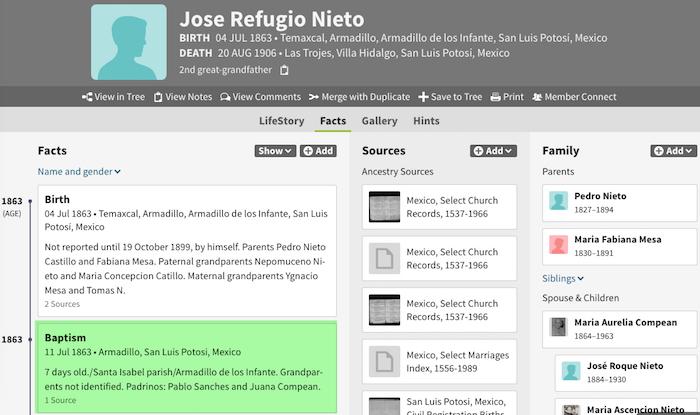 Jose Refugio Nieto Mesa - 1863 - Baptism Entry