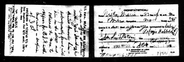 Maria Nieto 1915 Border Crossing from Ancestry