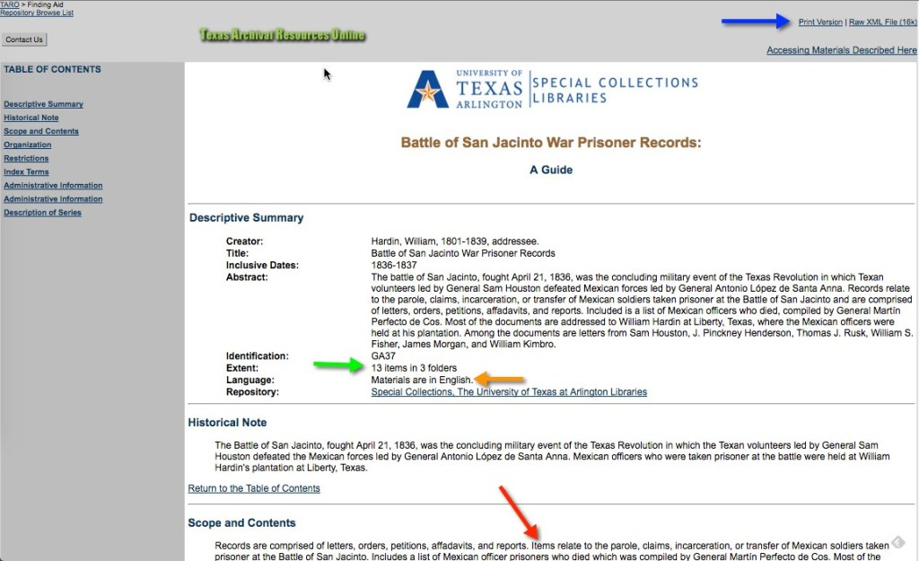 Collection finding aid on the Texas Archival Resources Online