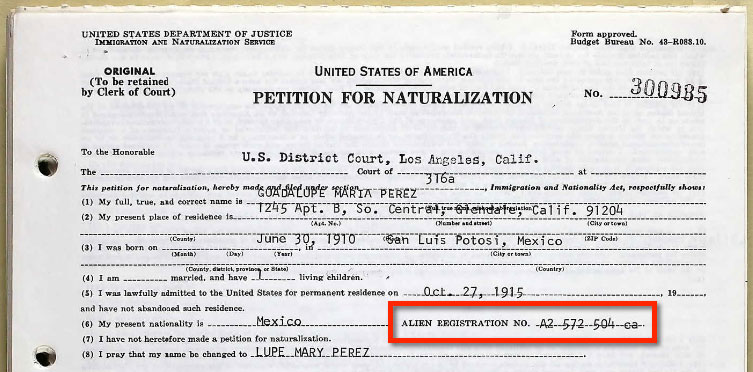 1940 Petition for Naturalization for Lupe Robledo