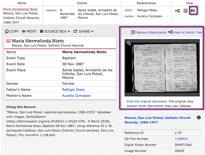 FamilySearch Item Record Linked to the Digitized Document