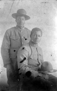 S. Augustus Aikens and friend in uniform: Cherry Lake, Florida, ca. 1917.