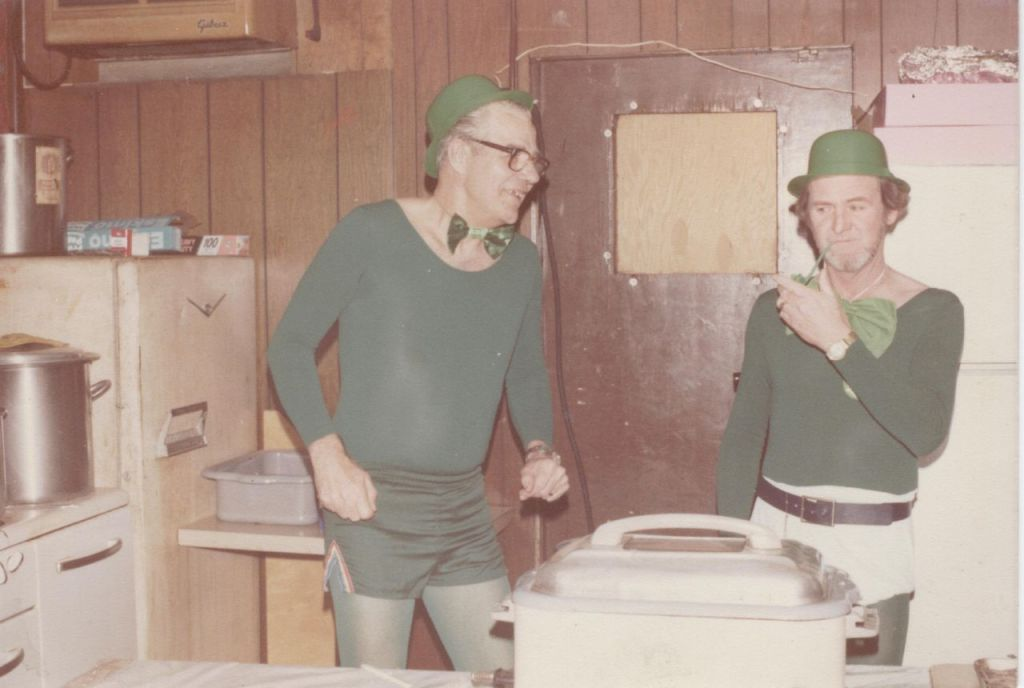 Michael John Flanagan and Coworker dressed as leprechauns