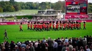 The Band of the Welsh Guards performed on the track and off at the Qatar 2010 race