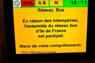 Paris snow December 9, 2010 bus system paralyzed; they stop running