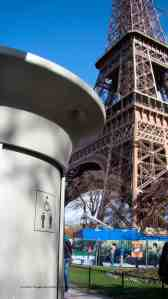Two works of art in Paris, Eiffel's Tower and Jouin's Sanisette