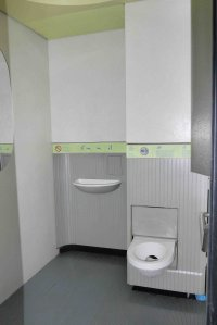 Paris sanisette/automatic toilet interior with verbal instructions