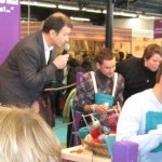 Knitting men at l'Aiguille en Fete-Annual Needlework Fair in Paris February