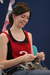 Colette Cauchy 2011 Champion in Speed Knitting - 235 stitches in 3 minutes