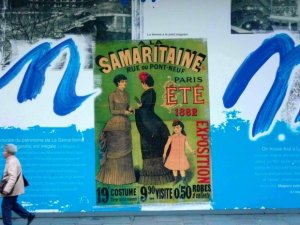 Old Poster La Samaritaine Department Store Under Construction