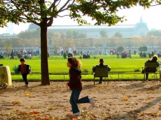 Children running in the Tuileries Garden, Paris, Autumn