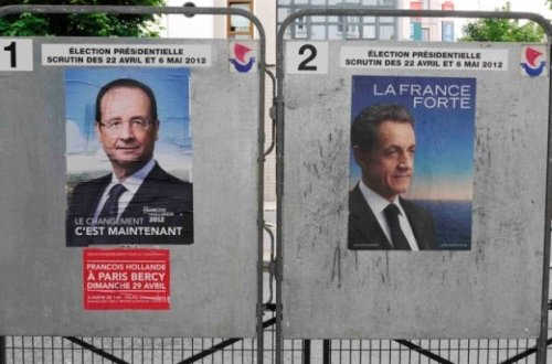 France 2012 Second Round of Elections Posters of N. Sarkozy and F. Hollande, May 6