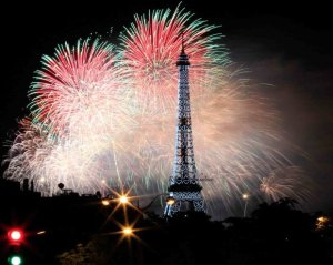 July 14 Bastille Day Fireworks Paris; photo by Rob Johnstone from a special street; write to me to find out where