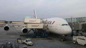 Air France airplane being serviced at Roissy CDG Paris
