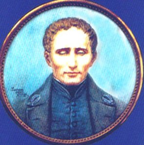 Medallion image of Louis Braille for the museum - Braille designed the raised point writing system