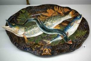 Trompe l'œil Fish on a plate, Édouard Avisseau (1831-1911) Tours, 1870
