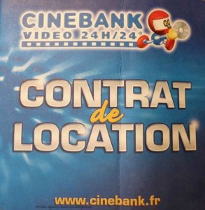 Image of Cinebank contrat de location for renting DVDs