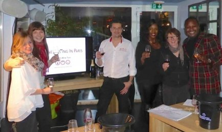 Wine Tasting in Paris evening on the Batostar with Thierry Givone, Jennifer and Katy from Pennsylvania, Belile and Monique from New York and Colleen