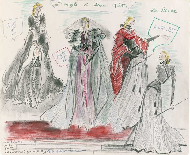 "Yves Saint Laurent Sketch of theatre costumes for Genevieve Page in the show ""L'Aigle à deux têtes"" from 1978"