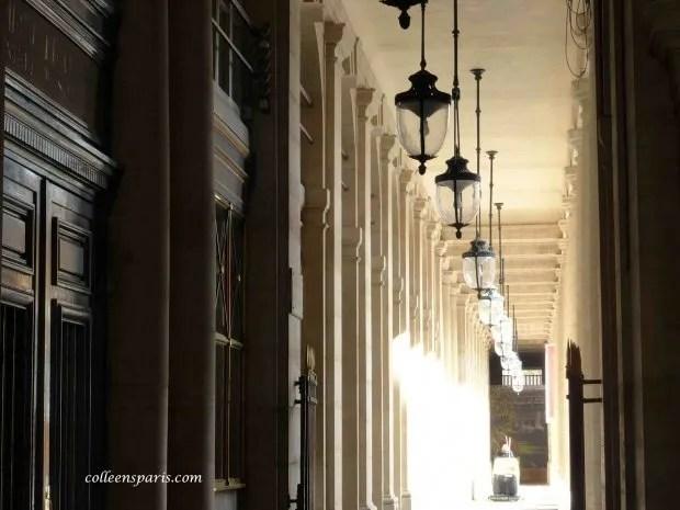 Palais Royal arcade and lamps