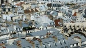 Apartment balcony among the rooftops Tour Saint Jacques Chatelet Paris