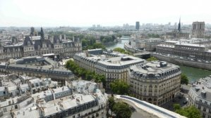 View of Hotel de Ville, Seine and Notre Dame from Tour Saint Jacques
