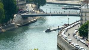View of Barges on Seine between Ile de la Cité and Ile Saint-Louis