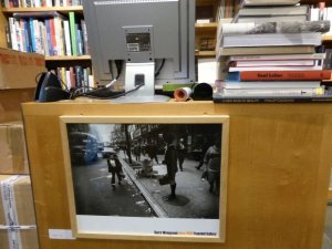 Bookstore/Library at Jeu de Paume with Winogrand Poster from Fraenkel Gallery