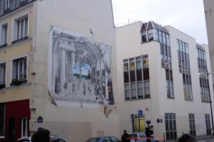 Offices of Charlie Hebdo in the 11th arrondissement rue Nicolas Appert. Wall painting with theatre theme by Philippe Rebuffet